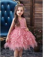 Nuovo abito tutu cerimonia matrimonio feste bambina 2-6 anni vari colore dress