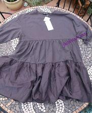 Dark Grey Zara Pleated Dress L Large 12 New