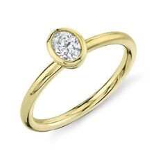 14K Yellow Gold Oval Cut Diamond Solitaire Ring Bezel Set F VS2 Natural Womens