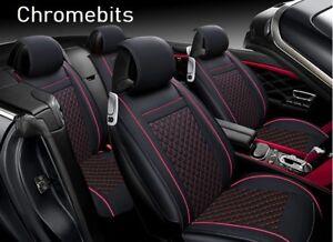 Deluxe Black Red PU Leather Full set Seat Covers For Honda Civic CR-V HR-V