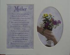 """"""" Mother """" Keepsake photo mount to fit 8"""" x 10"""" Bedroom Living Room Hallway."""