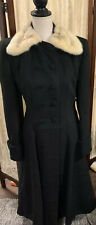Vintage 1950s-60s Women's Julliard Princess Black Wool Coat With Fur Collar Sz M