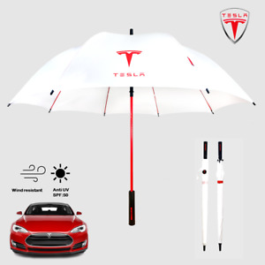 TESLA Golf Umbrella Premium Quality Brolly Automatic Car Accessories White Red