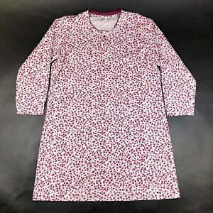 CALIDA SWITZERLAND Lounge Shirt Top Size M Red Pink Flowers Floral Long Sleeve