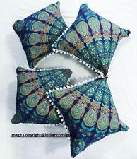 Peacock Mandala Set Of 4 Square Cushion Cover Cotton Home Decor Pillow Cover Art