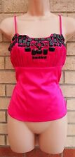 NEXT STRAPPY PINK BEADED CORSET BRALET TUBE FUCHSIA BLOUSE T SHIRT TOP TUNIC S