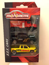 Majorette S.o.S. Cars Mercedes Benz Zetros Fire, VW Amarok Police & Chevrolet