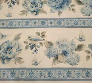 "1 yd 5"" Spring Blue Collection Sandy Lyman Clough P&B Textiles Gray Floral Bird"
