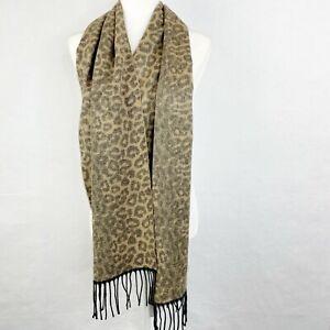Steve Madden Leopard Muffler Scarf Women's One Size Animal Print Brown Black NEW