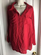 Women's RED SHIRT Size 3x By Grand And Greene Blouse Top Career Casual