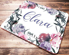 Name Personalized Mouse Pad Pink Purple Flowers Computer Desk Accessories