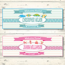 2 PERSONALISED WELCOME HOME BABY BANNERS - BOY OR GIRL