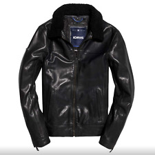Superdry IE Iconic Sherpa Leather Flight Jacket - Large - Fantastic - RRP £350