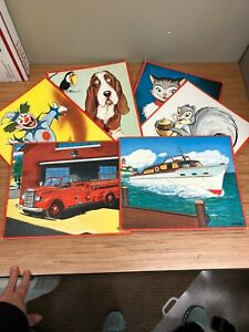 6 lot Antique Vintage RARE tray Picture Puzzles dog cat firetruck squirrel boat