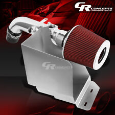 POLISHED SILVER AIR INTAKE+RED FILTER+HEAT SHIELD FOR 02-06 TOYOTA CAMRY I4 2.4