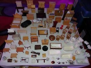 Huge MIXED Lot of Vintage Doll House Furniture Kitchen Living Dining Bed Room