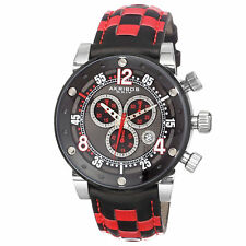 New Men's Akribos XXIV AK612RD Swiss Chronograph Checkered Red Leather Watch