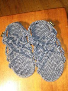 Gurkees Woven Rope Minimalist Sandals Women's Size 6 Slate Blue