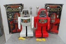 "Rare Pair Starry Robot Battery Op. by ""S"" Toys Made in Hong Kong 1960's Box"