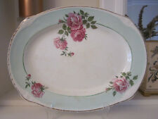 GORGEOUS VINTAGE ROYAL HARVEY MINT GREEN AND PINK ROSES PLATTER