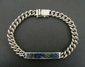 """Abalone Rectangle Stone Sterling 925 Silver Link ID Style Bracelet 8 1/4"""" Long"""