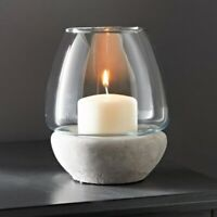Hurricane Glass Votive Candle Holder Pillar Tea Light Lantern Vase Stone effect