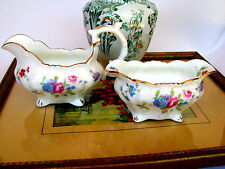 Hammersley & Co. England Bone China Pink Roses 6072 Creamer and Sugar Bowl