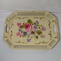 Hand Painted Flowers Metal 17.5' in Serving Tray Vintage Floral Decor