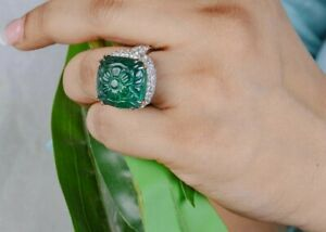 Green Carved Stone & CZ 925 Sterling Silver Flower Ring Vintage Inspired Jewelry