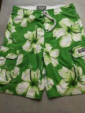 Mens size XL ABERCROMBIE & FITCH BOARD SURF HAWAIIAN SUMMER SHORTS green floral