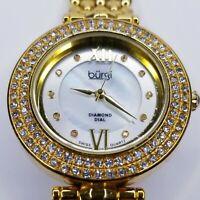 Burgi Diamond & Crystal Accented Women's Watch 10 Diamond Hour Markers 126YG