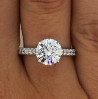 2.66 Carat Round Cut Diamond Engagement Ring VS2/D White Gold 18k 6226