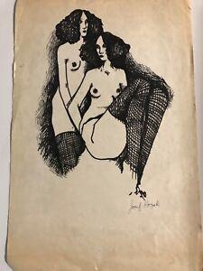 "Vintage Josef M. Kozak Original Work of Art DRAWING ""TWO WOMEN"" Signed Unframed"
