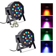 2 PAR LED FARO RGB 18W Watt ALTA LUMINOSITA' DMX STROBO WASH PROGRAMMABILE