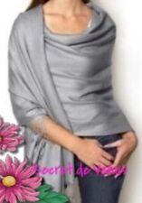 Echarpe étole châle scarf 100 %pashmina cachemire mélangé vert lagon gris argent