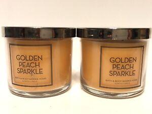 LOT 2 BATH & BODY WORKS HOME GOLDEN PEACH SPARKLE 4 OZ SCENTED MEDIUM CANDLES