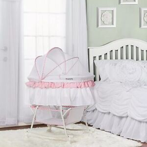 Dream On Me Lacy Portable 2 In 1 Bassinet And Cradle In Pink & White