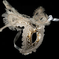 Venetian Mask: Italy. Columbine with Tassels (Half Mask, White Color)