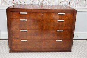 Ralph Lauren Art Deco Style Flame Mahogany Four-Drawer Dresser