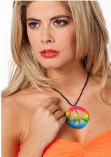 Regenbogen Peace-Halskette NEU - Zubehör Accessoire Karneval Fasching