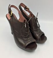 Derek Lam Wooden Hill Leather Sandals 7.5M Open Toe Lace Up Brown Made in Italy