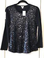 J. CREW Women's Small Blouse Black Sequin Long Sleeve Scoop Neck NWT