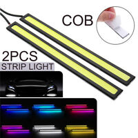 2x 12V LED Car Daytime Running Light DRL COB Strip Fog Indicator White Blue Lamp