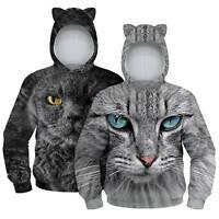 Kids Boys Girls Sweatshirt Hoodie Casual Cat Printed Pullover Long Sleeve Tops