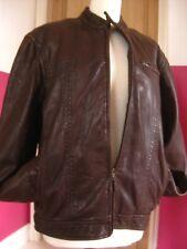 "Mens NEXT brown real leather JACKET COAT size Medium 38 40"" biker racer bomber"