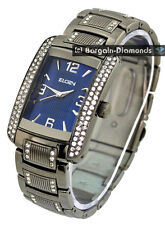 mens Elgin gunmetal business clubbing watch blue dial bracelet Elgin gift box