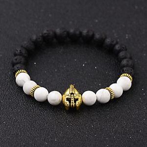 Men's Natural Stone Howlite Gold Helmet Beaded Bracelets Black Onyx Stone Bangle