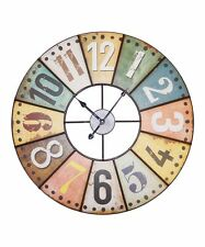 """Large Multi Color 23"""" WALL CLOCK Tuscan BISTRO FRENCH COUNTRY Wood Iron"""