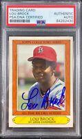 Lou Brock auto card 1985 Topps #5 MLB St. Louis Cardinals PSA Encapsulated