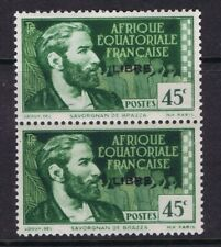 French Equatorial Africa - 1940 45c De Brazza with Libre ovpt, vertical pair